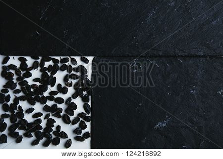 Dried Barberry Framed By Stone Pads And Isolated On White Table, Top View
