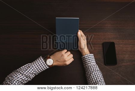 Accountant Looking Time On His Classic Silver Watches With Leather Strap Wearing Plaid Shirt, Near S