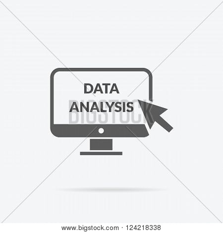Marketing data analytics analyzing statistics chart. Data analysis seo concept. Monitor with text Data Analysis. Isolated data analysis icon  Flat icon modern design style vector illustration concept.