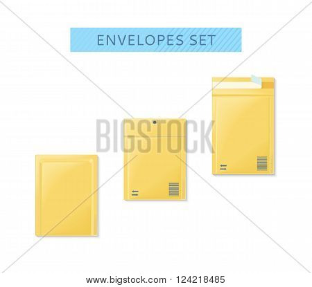 Envelope set open and close design flat. Letter mail template, yellow envelope, invitation envelope, open or close envelope vector illustration