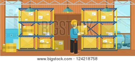 Equipment delivery process of the warehouse. Warehouse interior, logisti and factory, loader man in warehouse building exterior, business delivery, storage cargo vector illustration