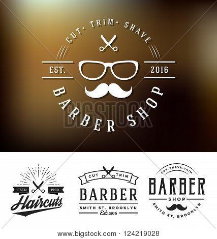 Set of barber shop logo and decorative sticker design. Retro vintage insignia logotype for barber shop. Vector illustration