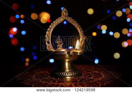 Indian Traditional  kamatshi amman oil lamp and light