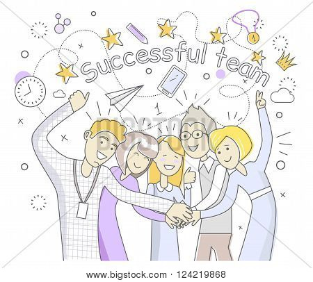 Successful team people design flat. Success team and business success, team work and team spirit, business team, team goal, business people teamwork and worker partnership vector illustration