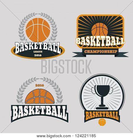 Basketball Championship Logo Set Vector Eps 10