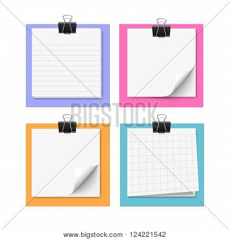 Set of four with sticky notes with paper clip. Realistic vector illustration of  paper. Blank memo paper.