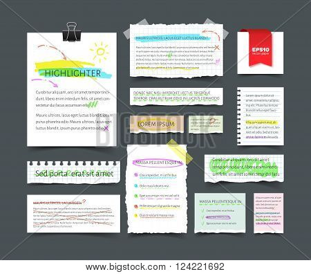 Collection of various blank white paper sheets and cards with text and highlighter stroke sisolated on white background. Realistic vector illustration of  blank paper and notepaper pieces.