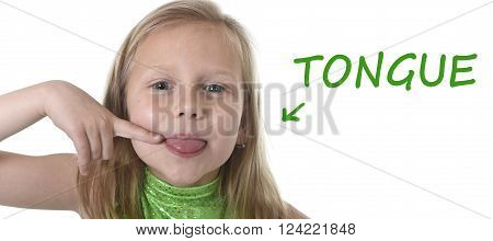 6 or 7 years old little girl with blond hair and blue eyes smiling happy posing isolated on white background pointing tongue in learning English language school education body parts card set