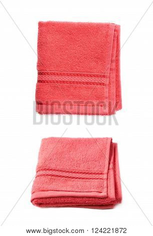 Single red terry cloth towel isolated over the white background, set collection of two different foreshortenings