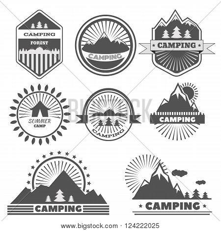 Camping logo labels badges travel emblems eps 10 vector