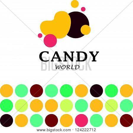 Vector flat candy bar and sweet shop logo design. Sweet store insignia design. Bakery, kid toys store, home made cakes and pies logo, restaurant, cafe, catering brand mark design.