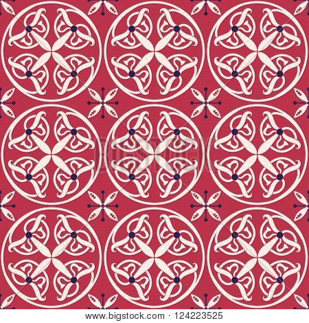 Vector Illustration of Moroccan tiles Seamless Pattern for Design, Website, Background, Banner.Spanish element for Wallpaper, Ceramic or Textile. Middle Ages Ornament Texture Template