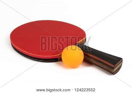 Used Racket And Ball For Playing Table Tennis Isolated On White Background.