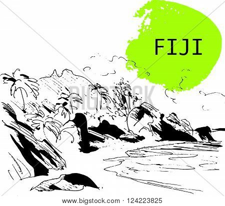 Hand drawn Fiji seacoast sketch. Wild nature landscape picture. Touristic sight seeing. Print design, book, article illustration. Touristic traveling. Memory postcard, invitation design.