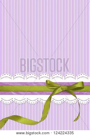 Purple striped holiday background with green ribbon bow