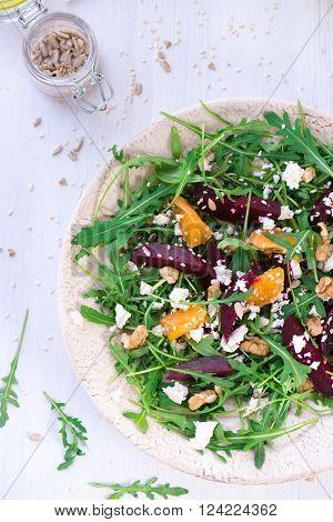 Beetroot Salad With Feta Cheese And Mandarins