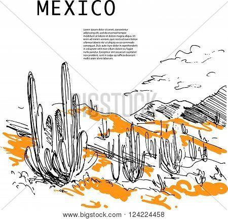 Hand drawn Mexico traveling landscape sketch. Nature drawnig. Touristic sight seeing. Print, poster, leaflet design, book, article illustration. Memory postcard, invitation design.