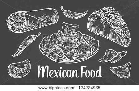 Mexican traditional food set with text message burrito tacos chili tomato nachos. Vector vintage engraved illustration for menu poster web. Isolated on dark background