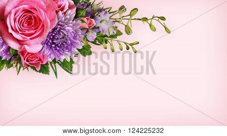 Aster and rose flowers corner arrangement on pink background