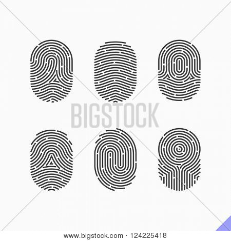 Fingerprint icons set. Vector.