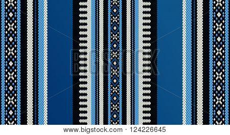 Blue Theme Sadu Weaving Middle Eastern Traditional Rug Texture