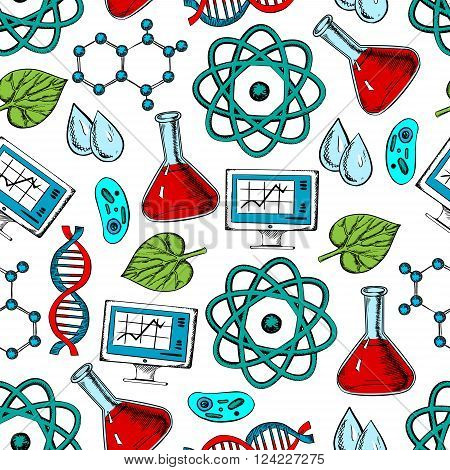 Science, research and genetics seamless colorful pattern of atom and DNA models, computer and flasks, cells and water drops, molecule schemes and green leaves. Science and experiment themes