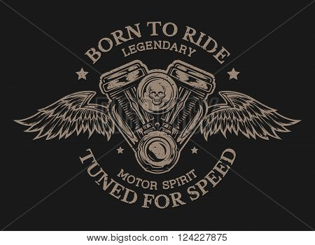Motorcycle engine and wings. Emblem t-shirt graphic.