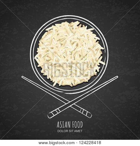 Dish Of Boiled White Rice And Chopsticks On Grunge Black Chalkboard Background.