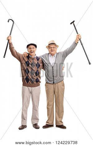 Full length portrait of two senior gentlemen posing together and celebrating something isolated on white background