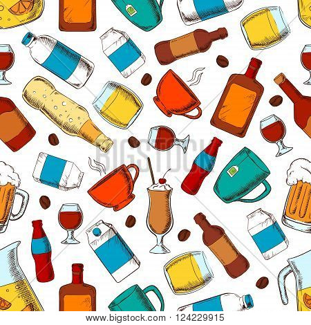 Beverages seamless pattern of coffee and tea cups, bottles and filled glasses of beer and soda, wine and whiskey, milk and cream packets, fresh lemonade and milk shake