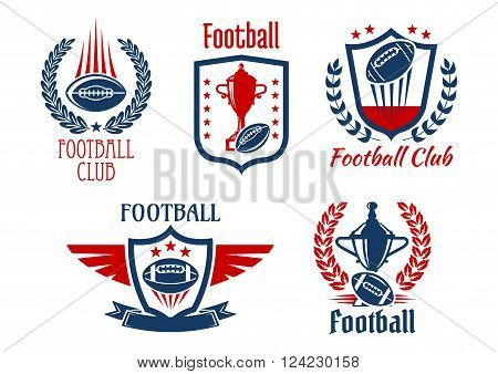 American football sport heraldic symbols and icons for sporting club or team design with trophy prizes and balls, framed by medieval shields, laurel wreaths and ribbon banners, adorned by stars and wings