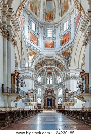 AUSTRIA, SALZBURG - MARCH 15, 2012: Salzburg Dom Cathedral interior built by Santino Solari, Swiss architect and sculptor. Cathedral is dedicated to Saint Rupert and Saint Vergilius.