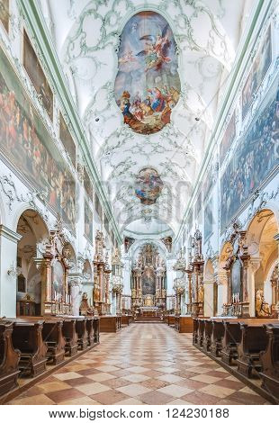 AUSTRIA, SALZBURG - MARCH 15, 2012: The most sumptuous church in Salzburg, the Abbey Church of St. Peter