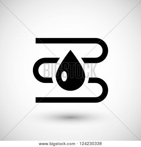 Water heating system icon isolated on grey. Vector illustration