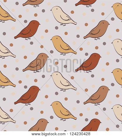 Brown seamless pattern with birds in neutral colors