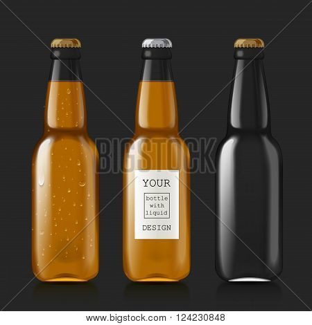 Transparent glass bottle. Realistic scalable and empty beer bottles. Patterns of bottles with liquid - beer, water, soda. Mock Up Template Ready For Your Design. Isolated On Black Background