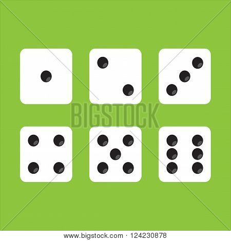 Icon gaming dice. Game cubes top view on a green background. Set dice.