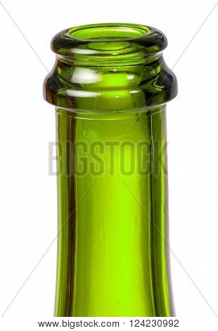 Neck of green bottle of champagne isolated on white background