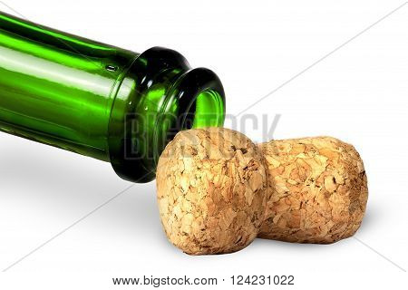 Neck of green bottle and cork near isolated on white background