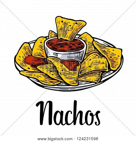Nachos- mexican traditional food. Vector vintage engraved illustration for menu poster web. Isolated on white background