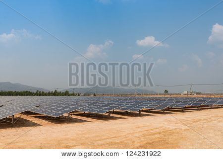 The Solar Farm For Green Energy In The Field