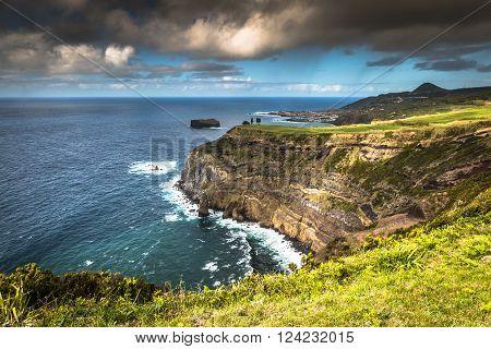 Green island in the Atlantic Ocean Sao Miguel Azores Portugal