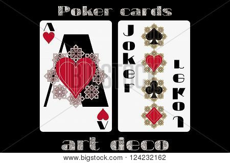 Poker Playing Card. Ace Heart. Joker. Poker Cards In The Art Deco Style. Standard Size Card.