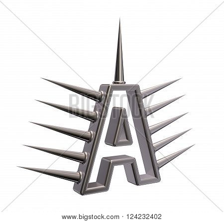 letter a with metal prickles on white background - 3d illustration