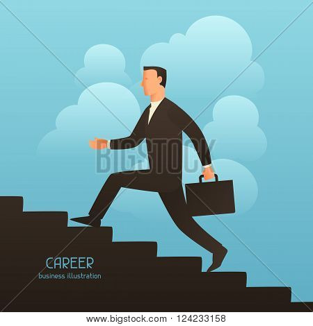 Career business conceptual illustration with businessman going upstairs. Image for web sites, articles, magazines.