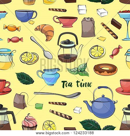 Tea Time Pattern. Hand drawn icons - Cups, mugs, teacups, teapots, saucer, spoon,  leafs, fruits cherry, strawberry,  cakes, croissant, pie, candy isolated on light background