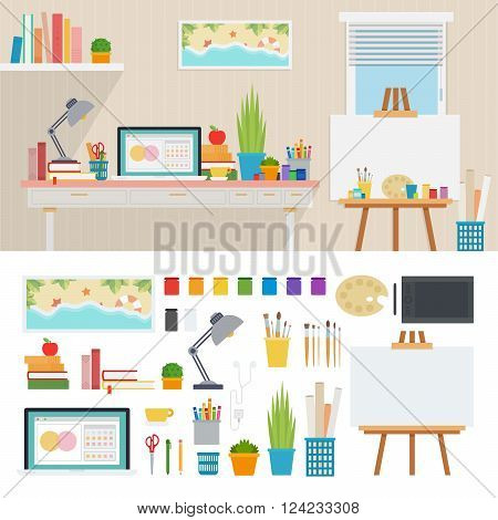 Illustrator working place vector flat illustrations. Painter room interior. art and design concept. Easel, palette, lamp, books, computer, paints isolated on white background
