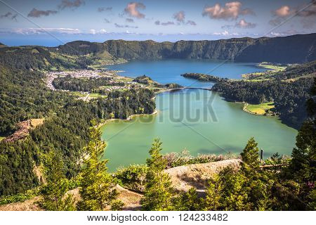 Lagoa Sete Cidades on Azores island .