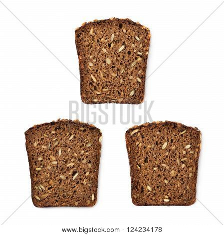 Black bread slice isolated over the white background, set of three different foreshortenings