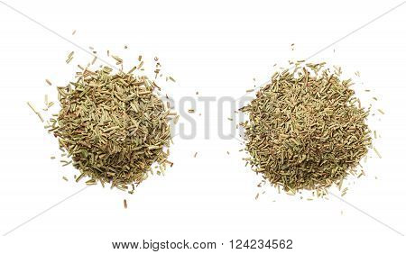 Pile of dried rosmarinus seasoning isolated over the white background, set of two different foreshortenings